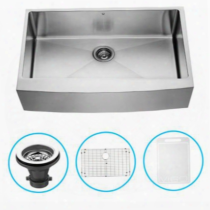 "Vgr3620ck1 36"" Farmhouse Single Bowl Kitchen Sink In 16-gauge Stainless Steel With Embossed Vigo Cutting Board Grid And"
