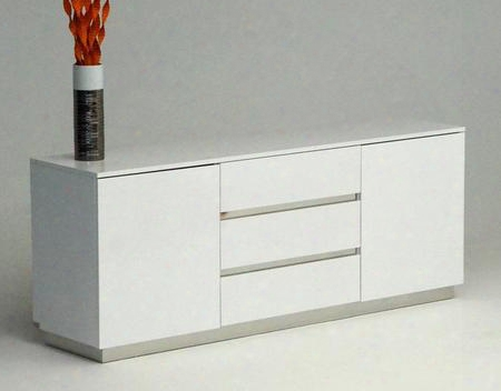 Vgunac636-180-wht A&x Skyline Buffet With 3 Pull-out Drawers 2 Side Doors 2 Shel Ves And Laser-cut Crocodile Texture Lacquer In White