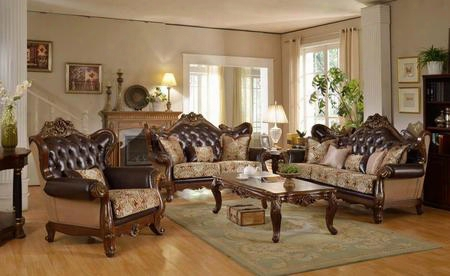 "5 Piece Living Room Set With 45"" Arm Chair 73"" Loveseat 59"" Coffee Table And 32"" Coffee Table In Rich Cherry"