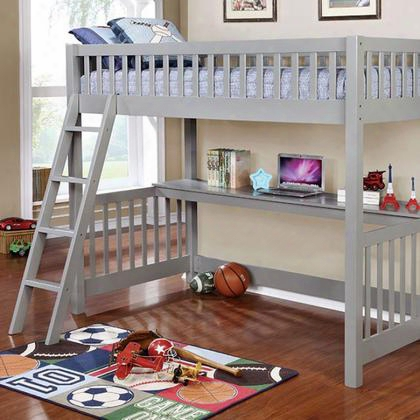 Aiken Cm-bk614-bed Twin/twin Bunk Bed With Contemporary Style Angled Ladder Loft Bed With Workstation 13 Pc. Slats Top In