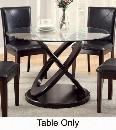 """Atenna I Collection Cm3774t-table 48"""" Round Dining Table With 8mm Tempered Glass Top And Interlinking Circle Base In Dark"""
