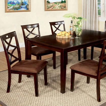 Baxter Cm3420t-7pk 7 Pc. Dining Table Set With Transitional Sytle Criss-cross Design Chair Padded Microfiber Seat Solid Wood Wood Veneer And Others In Dark