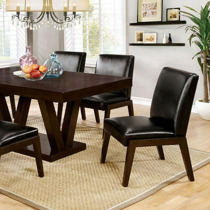 Belinda I Cm3357t Dining Table With Contemporary Style Black  Padded Leatherette Chairs Solid Wood/wood Veneer/others Double V-shape D Base In