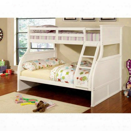 Canova Cm-bk923-bed Twin/full Bunk Bed With Curved Wood Design Angled Fixed Ladder 14 Pc. Slats Top And Bottom Solid Wood Wood Veneer And Others In