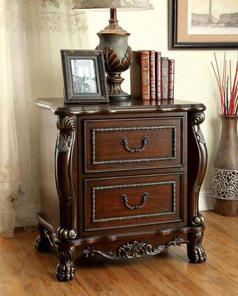 Castlewood Cm7299n Night Stand With Traditional Style Intricate Wooden Carvings Felt-lined Top Drawers Night Stand Withusb Outlet In