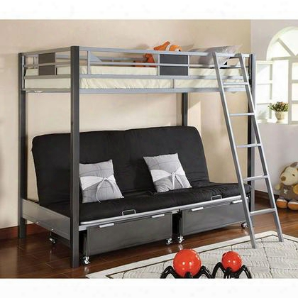Cletis Cm-bk1014 Twin Bed With Contemporary Style Movable Ladder Full Metal Construction Optional Twin Trundle And Drawers In Silver/gun