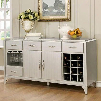 Diocles Cm020sv Server With Contemporary Style Antique Mirror Inserts Wine And Glassware Rack Shelves And Drawers In