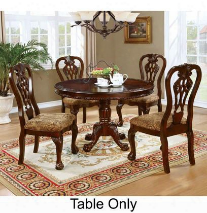 "Elana Collection Cm3212rt-table 48"" Round Dining Table With Traditional Style Pedestal Base And Carved Detailing In Brown"