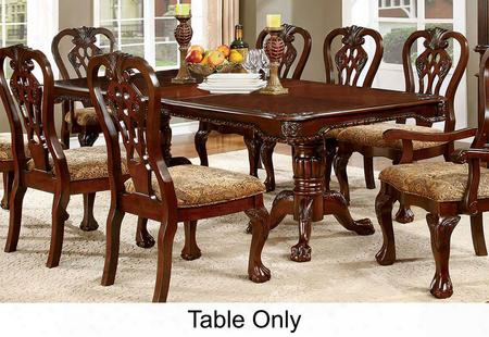 "Elana Collection Cm3212t-table 72"" - 90"" Dining Table With Traditional Style Double Pedestal Base And 18"" Expandable Leaf In Brown Cherry"