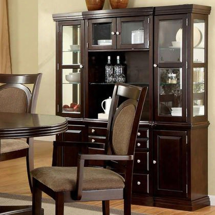 "Evelyn Collection Cm3418hb 66"" Hutch And Buffet With 4 Wood Framed Glass Doors Open Middl E Shelves And Molding Details In Walnut"