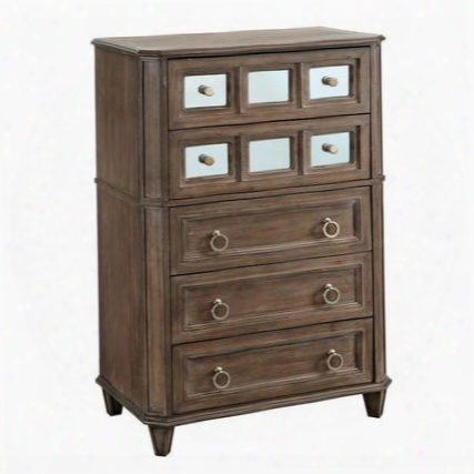 Frontera Cm7586c Chest With Transitional Style Felt-lined Top Drawers Tapered Legs 5mm Clear Glass Accents In Rustic