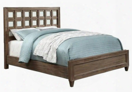 Frontera Cm7586q-bed Queen Bed With Transitional Styletapered Legs And 5mm Clear Glass Accents In Rustic Oak