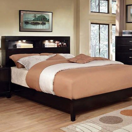 Gerico I Cm7290ex-q-bed Queen Bed With Contemporary Style Platform Bed Bookcase Headboard With Lighting Solid Wood And Wood Veneer In