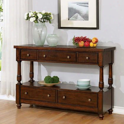 Griselda Cm3136sv Server With Transitional Style Plank Design Multiple Drawers O Pen Shelf In Brown