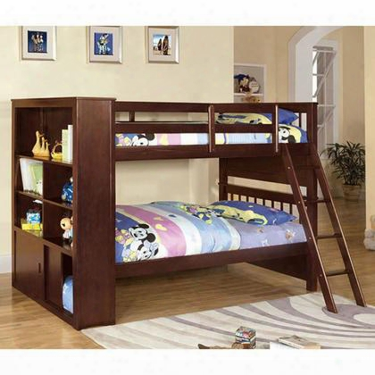 Hayden Cm-bk147-bed Twin/twin Bookcase Bunk Bed With Desk With Bookcases 14 Pc. Slats Top And Bottom Espresso Finish Angled Ladder In Dark