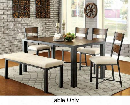 "Jazlyn I Collection Cm3686t-table 66"" Dining Table With Industrial Style Plank Table Top And Metal Base In Weathered"