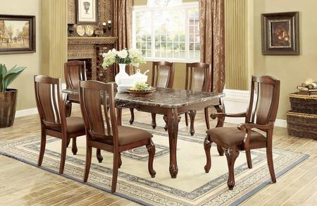 Johannesburg I Cm3873t Dining Table With Traditional Style Faux Marble Table Top Floral Wood Carvings Padded Flannelette Seat Cushions In Brown