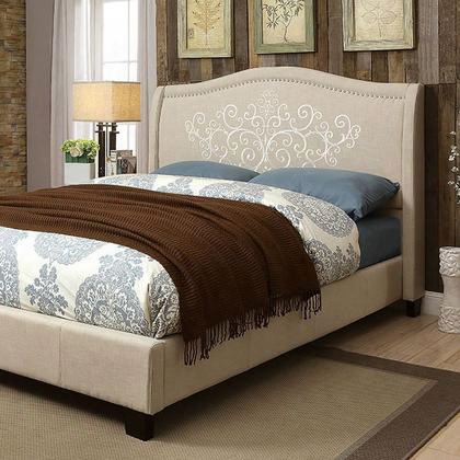 Karissa Cm7698q-bed Queen Bed With Contemporary Style Embroidered Floral Details Camelback Headboard Black Tapered Legs In