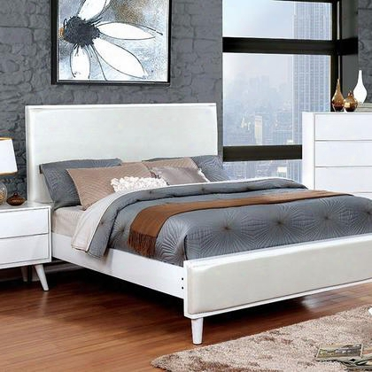 Lennart Ii Cm7387wh-q-bed Queen Bed With Mid-century Modern Style Round Tapered Legs And Leatherette Headboard In
