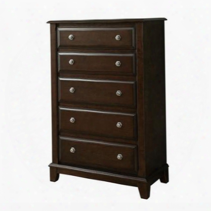 Litchville Cm7383c Chest With Contemporary Style Felt-lined Top Drawers Hexagon Shaped Drawer Pulls English Dovetail Drawers In Brown