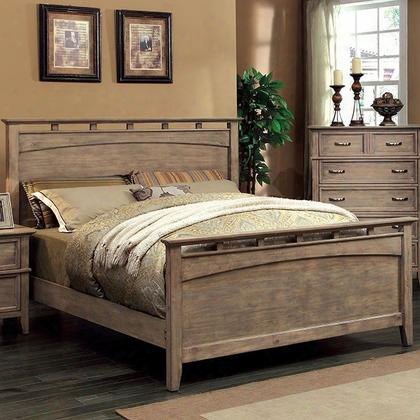 Loxley Cm7351q-bed Queen Bed With Transitional Style Solid Wood And Wood Veneer In Weathered Oak