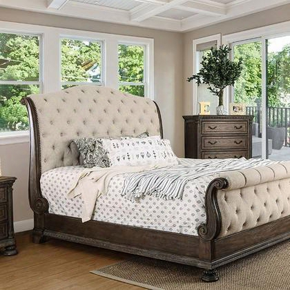 Lysandra Cm7663q-bed Queen Bed With Transitional Style Sleigh Bed Button Tufted Fabric Headboard And Footboard Intricate Wood Carvings In Rustic Natural