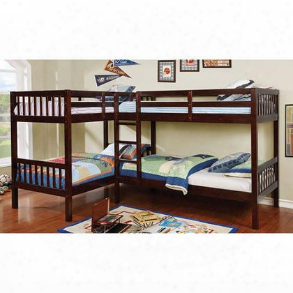 Marquette Cm-bk904-bed Quadruple Twin Bunk Bed With Transitional Style 4 Twin Beds Attached Ladder Corner Design In Dark