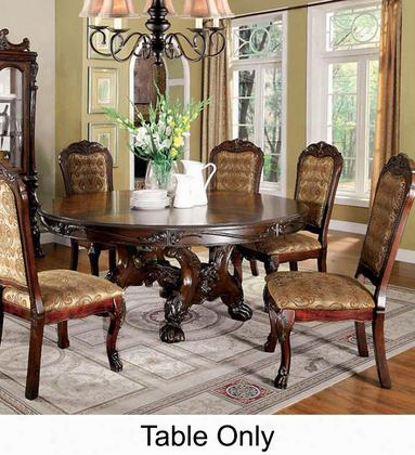 "Medieve Collection Cm3557ch-rt-table 72"" Round Dining Table With Trestle Base Lion Claw Feet And Carvedd Etailing In"