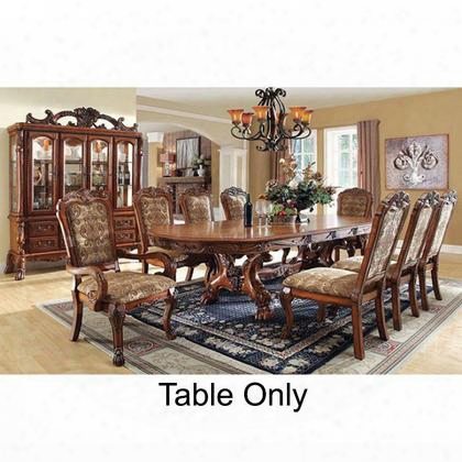 "Medieve Collection Cm3557t-table 78"" - 108"" Formal Dining Table With Apron Two 15"" Expandable Leaves And Lion Claw Feet In Antique"