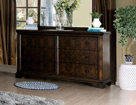Minerva Cm7839d Dresser With Transitional Style Wood Inlay Design Felt-lined Top Drawers Solid Wood Wood Veneer Others* In