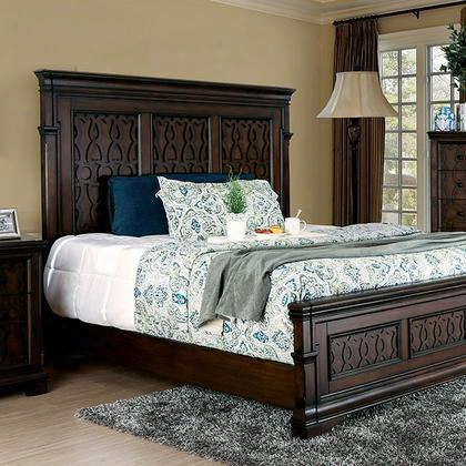 Minerva Cm7839q-bed Queen Bed With Transitional Style Tall Panel Headboard And Wood Inlay Design In
