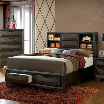 Nikomedes Cm7557q-bed Queen Bed With Contemporary Style Bookcase Headboard 2 Drawers In Footboard English Dovetail Drawer Construction In