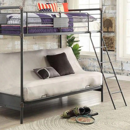 Olga I Cm-bk913ts-bed Twin Bed With Futon Base Industrial Design 20 Pc. Slats Top And Bottom (22 Pc. Slats For Fq And Qq) Attached Ladder In Antique