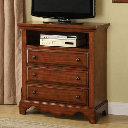 Palm Coast Cm7888tv Media Chest With Distressed Style Antique Gold Knobs Solid Wood Wood Veneer And Others Light Walnut Finish In Light
