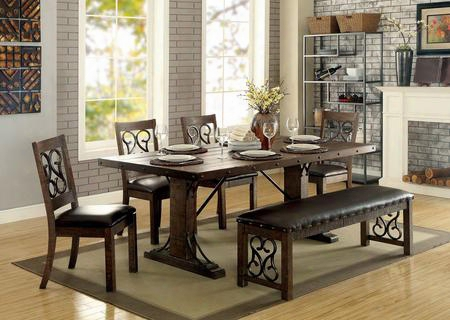 Paulina Cm3465t Dining Table With Traditional Style Scrol Details Bolt Accents Padded Leatherette Seat Cushions In Rustic