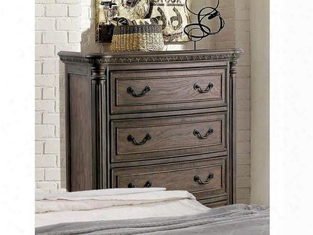 Persephone Cm7661c Chest With Transitional Style Intricate Wood Carvings Antique Inspired Drawer Pulls Felt-lined Top Drawers In Rustic Natural