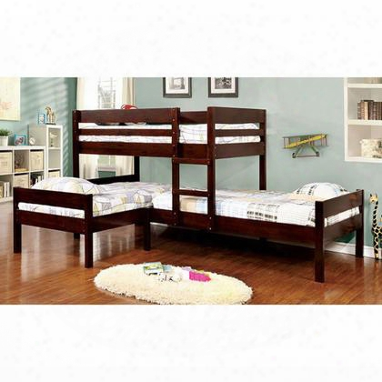 Ranford Cm-bk626-bed Twin Size 3-bed Bunk Bed With Transitional Style Attached Ladder Corner Design In