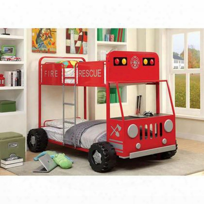 Rescuer Ii Cm-bk1043-bed Metal Twin/twin Bunk Bed With Fire Truck Design Metal Upper Safety Rails Attached Ladder Sturdy Metal Construction In