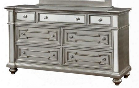 Salamanca Cm7673d Dresser With Contemporary Style 3mm Mirror Panel Accents Crystal-like Acrylic Drawer Pulls Turned Legs In