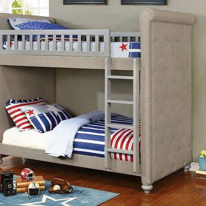 Sascha Cm-bk718-bed Twin/twin Bunk Bed With Contemporary Style Attached Ladder Padded Linen-like Fabric Nailhead Trim In