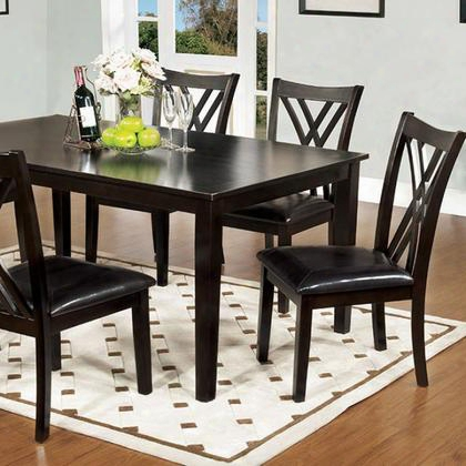 Springhill Cm3460t-7pk 5 Pc. Dining Tabe Set With Transitional Style Padded Leatherette Seat Espresso Finish Criss-cross Back Chair In