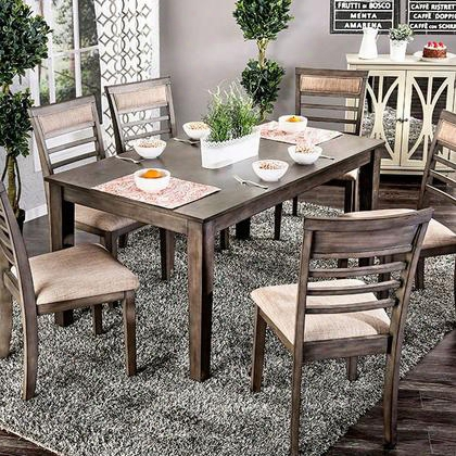 Taylah Cm3607t-7pk 7 Pc. Dining Tablee Set With Transitional Style Padded Fabric Cushions Slat Back Chair Solid Wood Wood Veneer Others* In Weathered