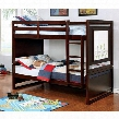 Glendale CM-BK901EX-BED Twin/Twin Bunk Bed with Transitional Style Drawing Board on Both Sides Attached Ladder Top Guard Rails in Dark