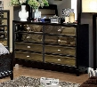 Golva CM7295D Dresser with Contemporary Style Gold-Tinted Mirror in Drawer Panels Full Extension Drawers Felt-Lined Top Drawers in