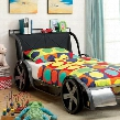 Gt Racer CM7946F-BED Full Bed with Car Design Headboard Shelf Sturdy Metal Construction Mattress Ready in Silver/Gun