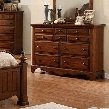 Palm Coast CM7888D Dresser with Distressed Style Antique Gold Knobs Solid Wood Wood Veneer and Others Light Walnut Finish in Light