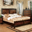 Patra CM7152Q-BED Queen Bed with Transitional Style Acacia Panel Bed Solid Wood Wood Veneer and Others Acacia and Walnut Finish in
