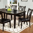 Springhill CM3460T-7PK 5 Pc. Dining Table Set with Transitional Style Padded Leatherette Seat Espresso Finish Criss-Cross Back Chair in