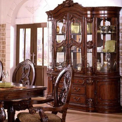 "Tuscany Ii Collection Cm3845ch-hb  72"" Hutch Buffet With 4 Glass Doors 4 Drawers And Under Cabinet Lighting In Antique"