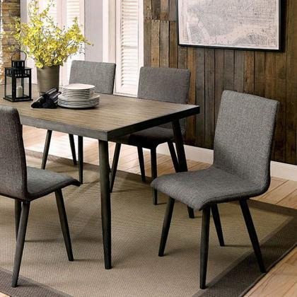 Vilhelm I Cm3360t Dining Table With Mid-century Modern Style Framed Table Top Tapered Legs Gray Linen-like Fabric In